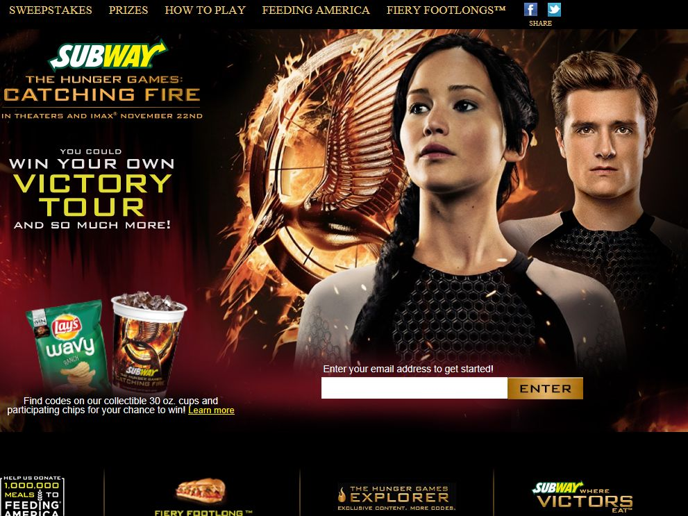 SUBWAY The Hunger Games: Catching Fire Sweepstakes