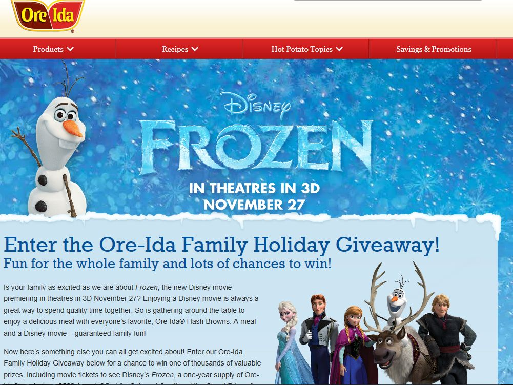 Ore-Ida The Family Holiday Giveaway