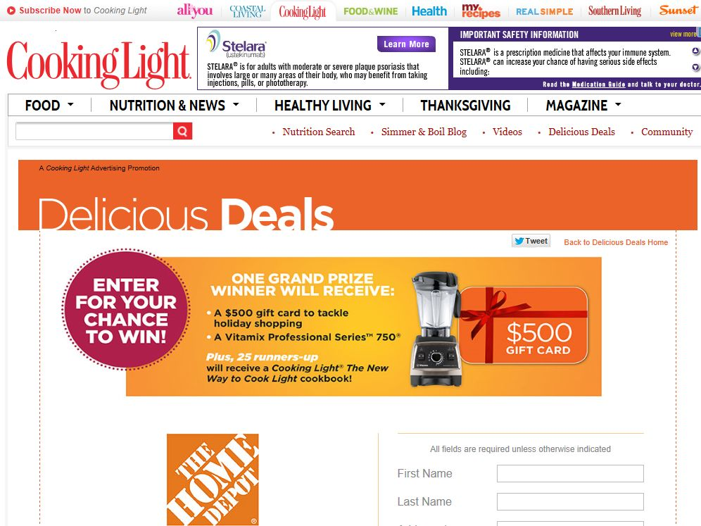 "Cooking Light ""Holiday Hostess Must Haves"" Sweepstakes"