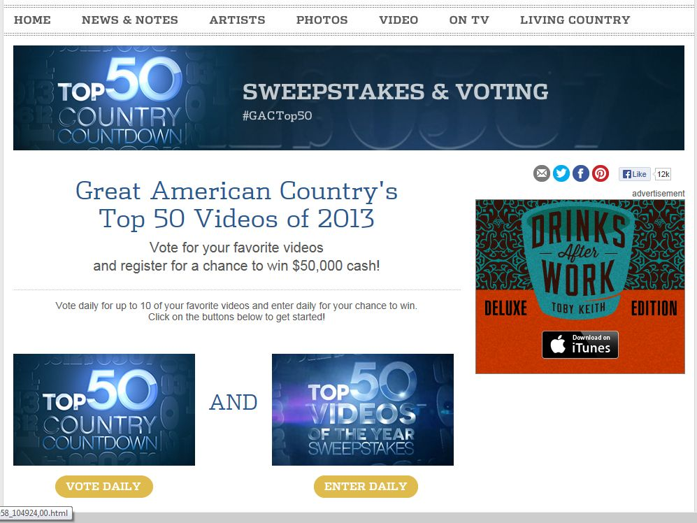 Great American Country's Top 50 Videos of 2013 Sweepstakes