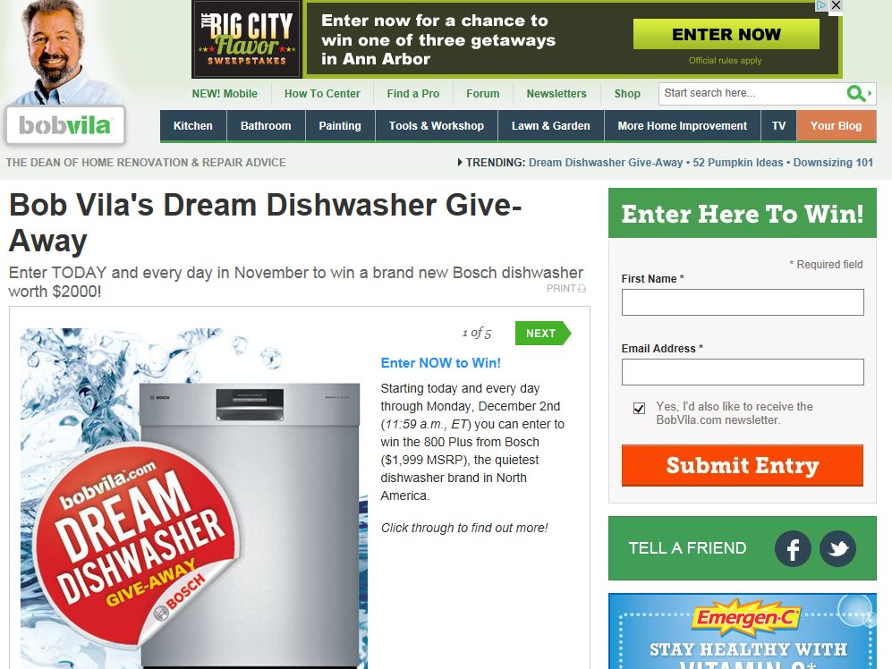 Bob Vila's Dream Dishwasher Give-Away from Bosch Sweepstakes