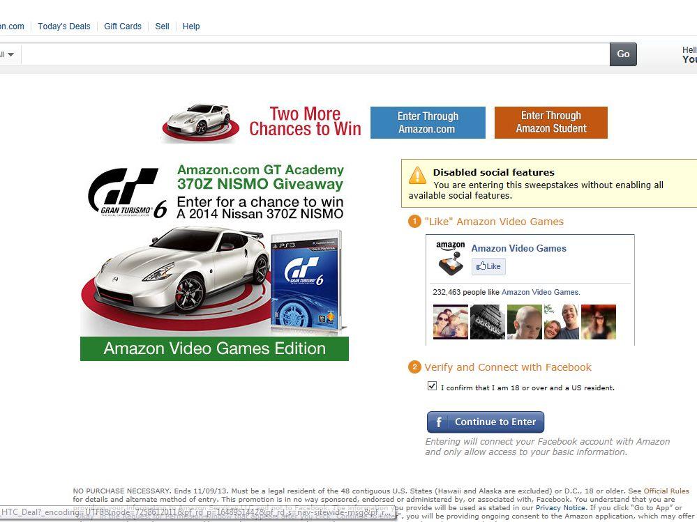 Amazon.com GT Academy 370Z NISMO Giveaway