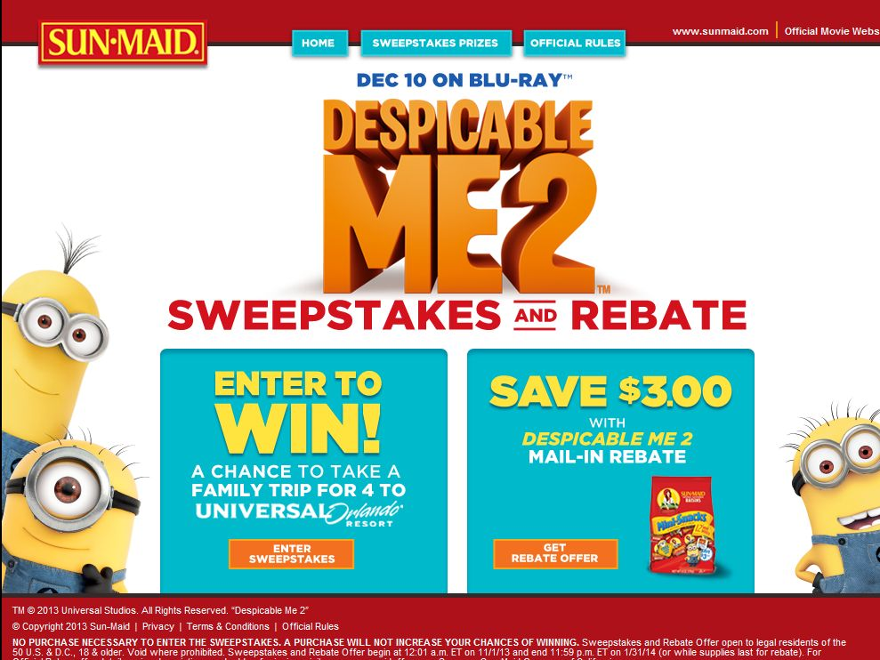 Despicable Me 2 Sweepstakes
