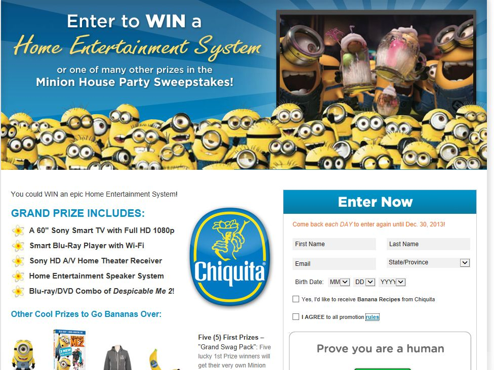 Chiquita Minions House Party Sweepstakes