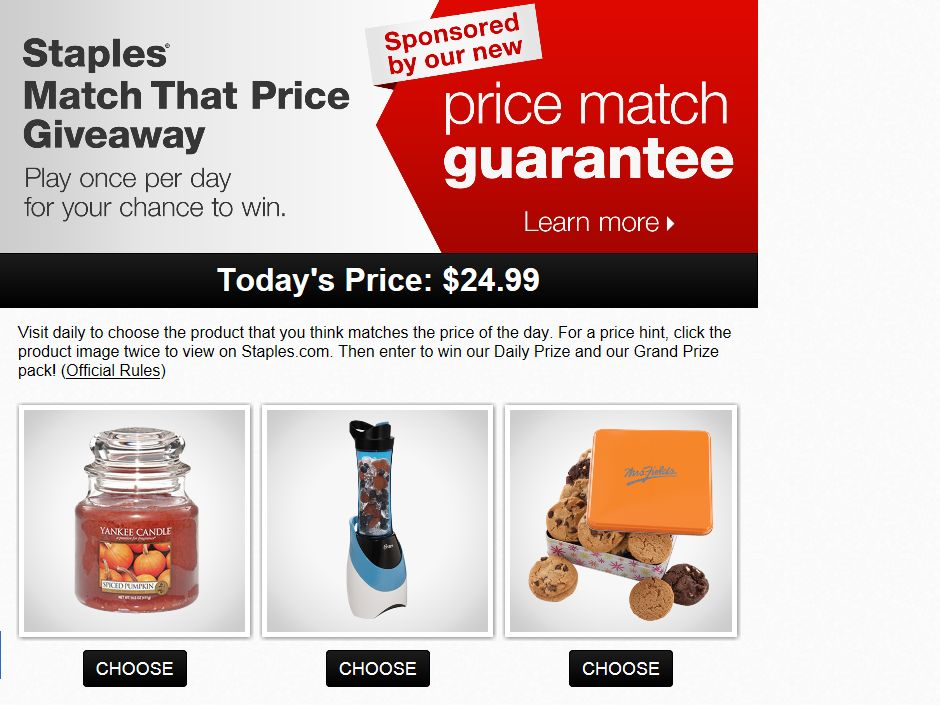 Staples Match That Price Giveaway