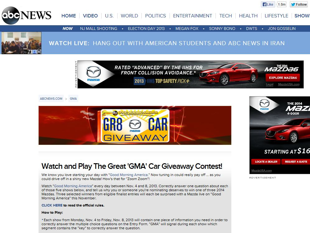 """Good Morning America's """"THE GREAT GMA CAR GIVEAWAY"""" Contest"""