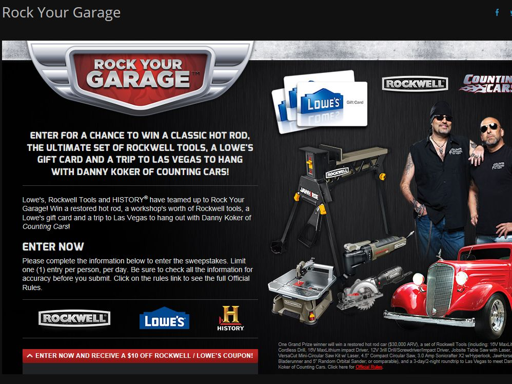 """HISTORY and Rockwell """"Rock Your Garage"""" Sweepstakes"""