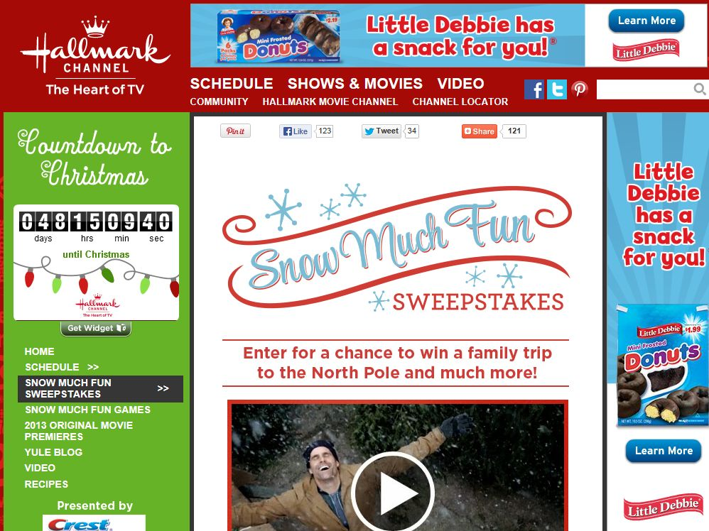 Hallmark Channel's Snow Much Fun Sweepstakes