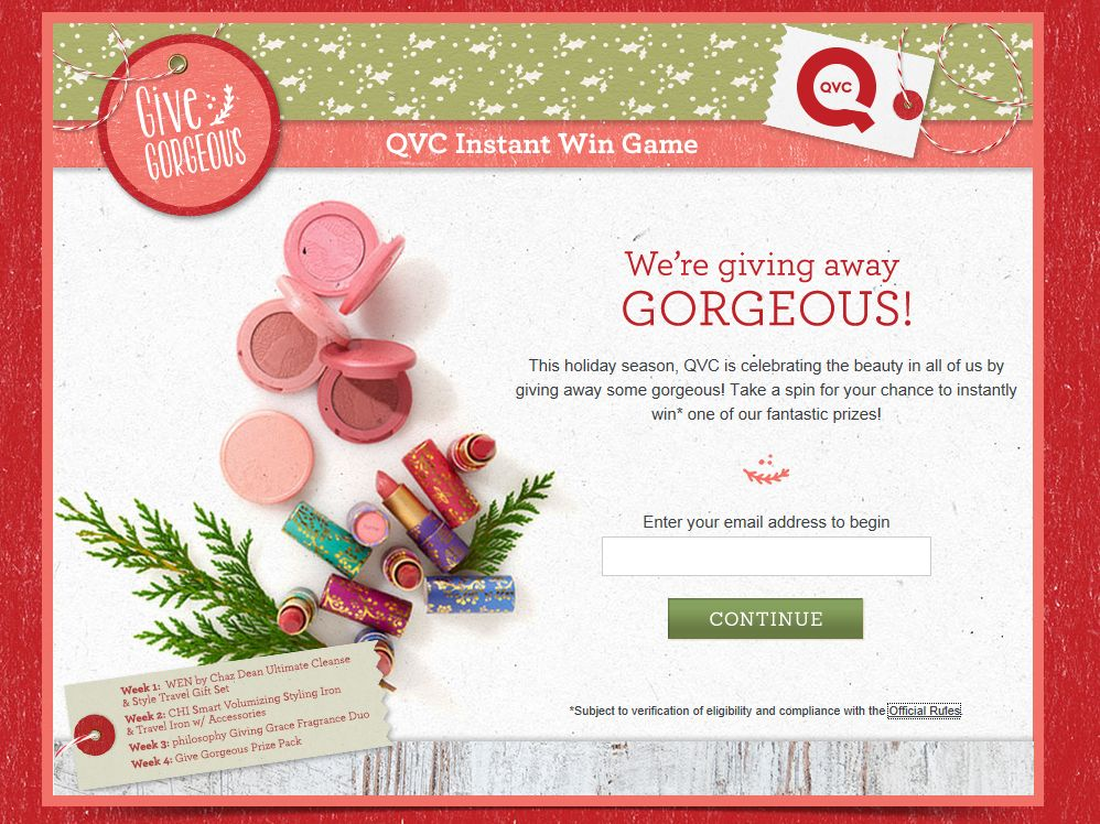 QVC Give Gorgeous Instant Win Game