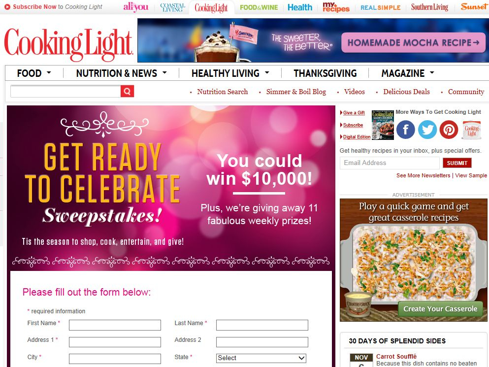 Cooking Light Get Ready to Celebrate Sweepstakes