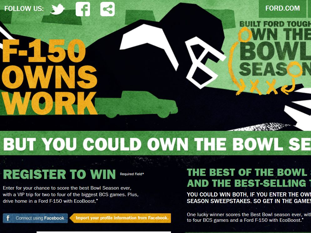 2013 Ford Own the Bowl Sweepstakes