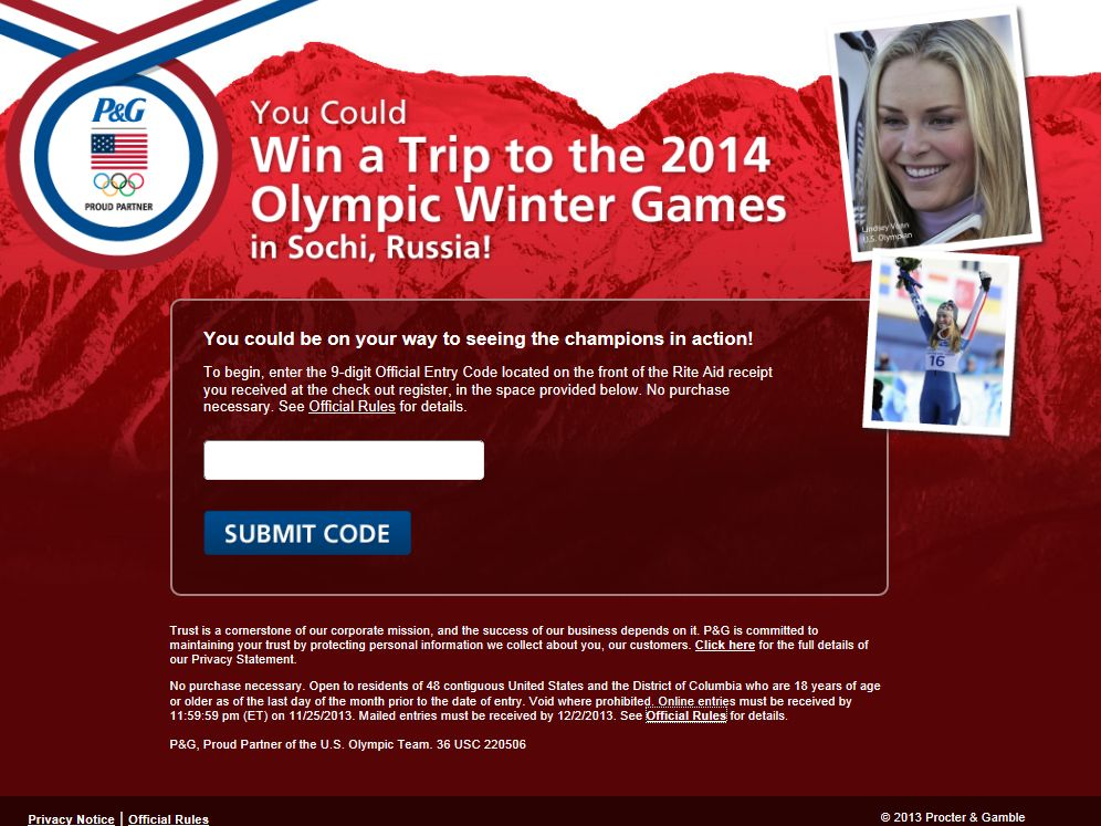 P&G Sochi Sweepstakes - Code Required