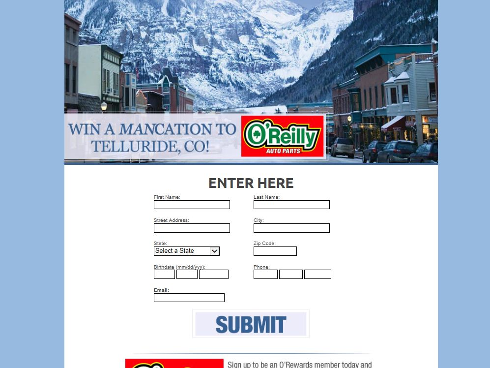 O'REILLY Auto Parts Ski Vacation Sweepstakes