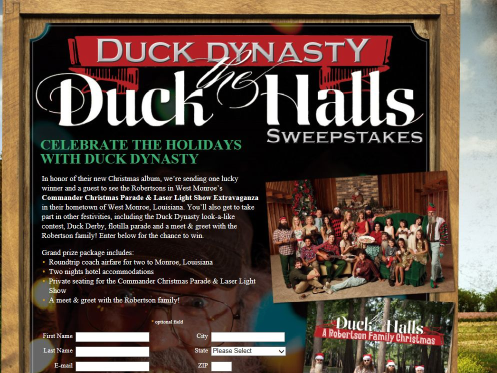 Duck Dynasty Duck The Halls Sweepstakes