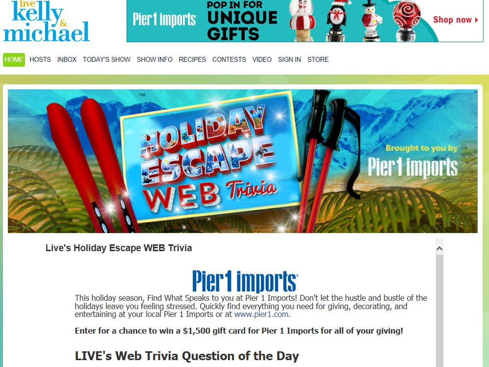 LIVE's Holiday Escape Travel Trivia Sweepstakes