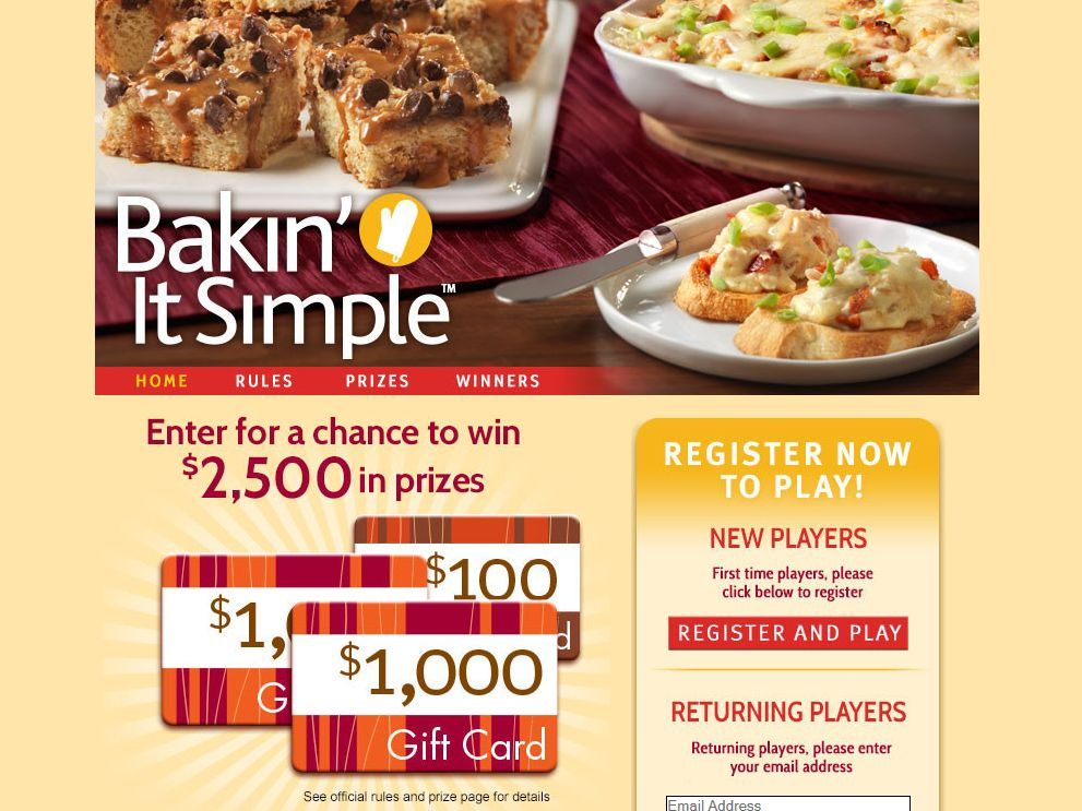 Bakin' It Simple Online Game Sweepstakes