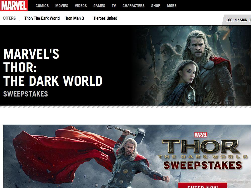Marvel's Thor: The Dark World Sweepstakes