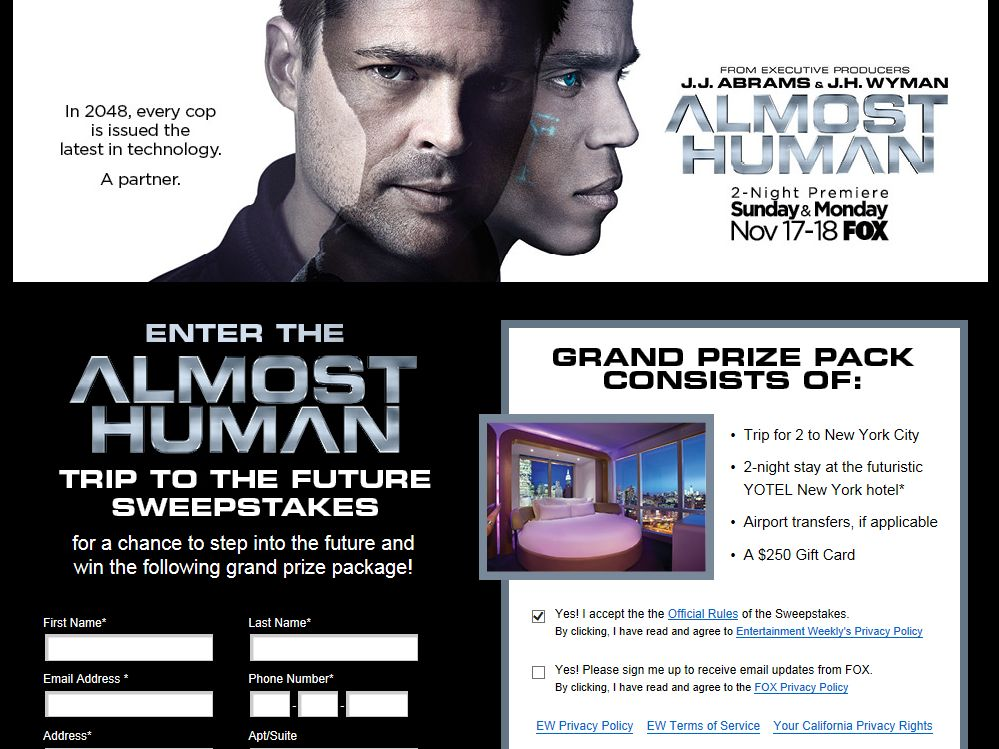 Fox The Trip to the Future Sweepstakes