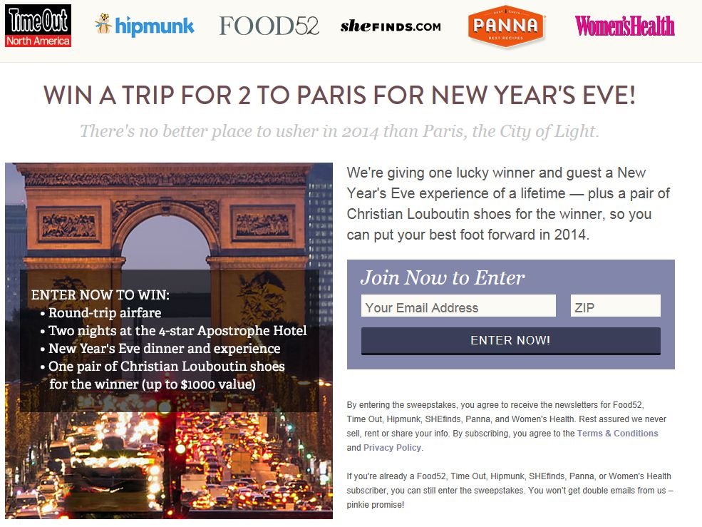 Food52 Win a Trip for 2 to Paris for New Year's Eve Giveaway