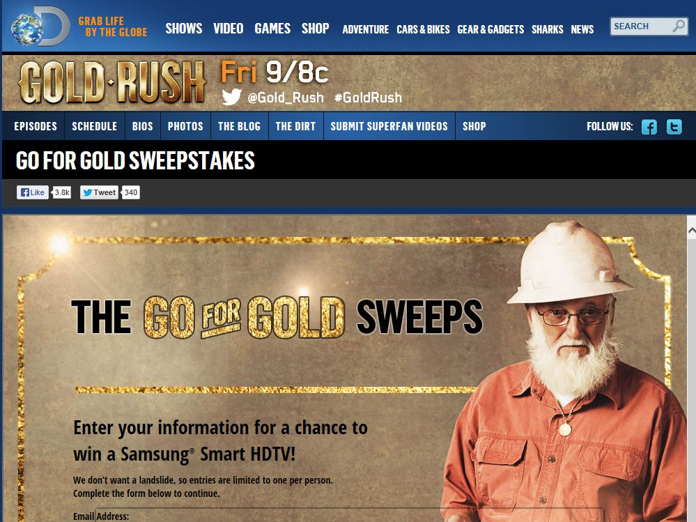 Discovery Channel Go For Gold Weekly Sweepstakes
