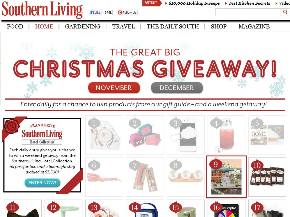 "Southern Living's ""The Great Big Christmas Giveaway"" Sweepstakes"