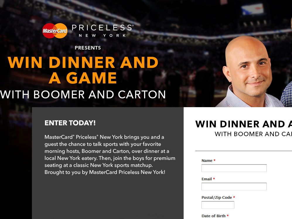 """MasterCard's """"Dinner and a Game with Boomer and Carton"""" Sweepstakes"""