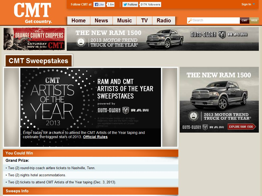 RAM & CMT Artists of the Year Sweepstakes