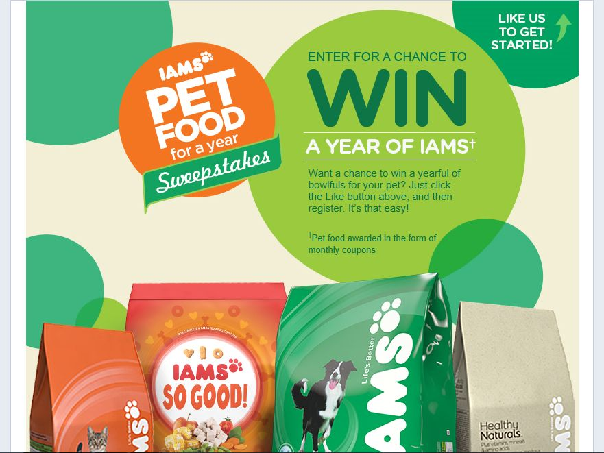 Iams Pet Food for a Year Sweepstakes