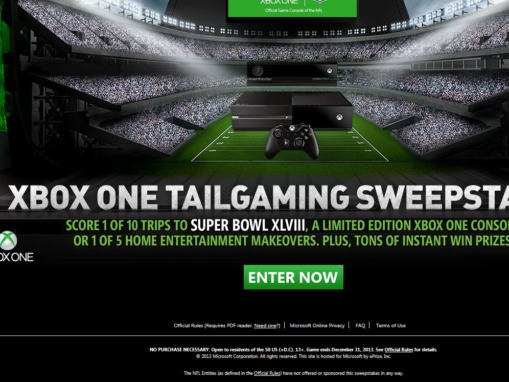 Xbox One Tailgaming Sweepstakes