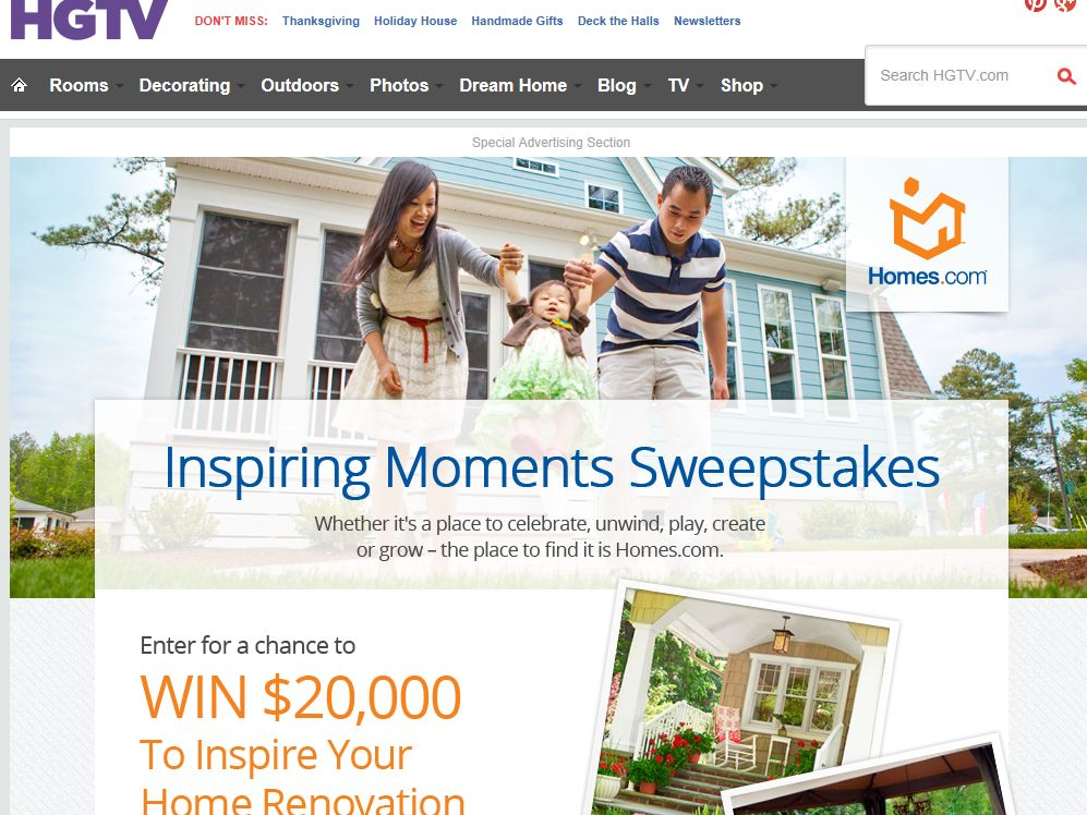 HGTV Inspiring Moments Sweepstakes