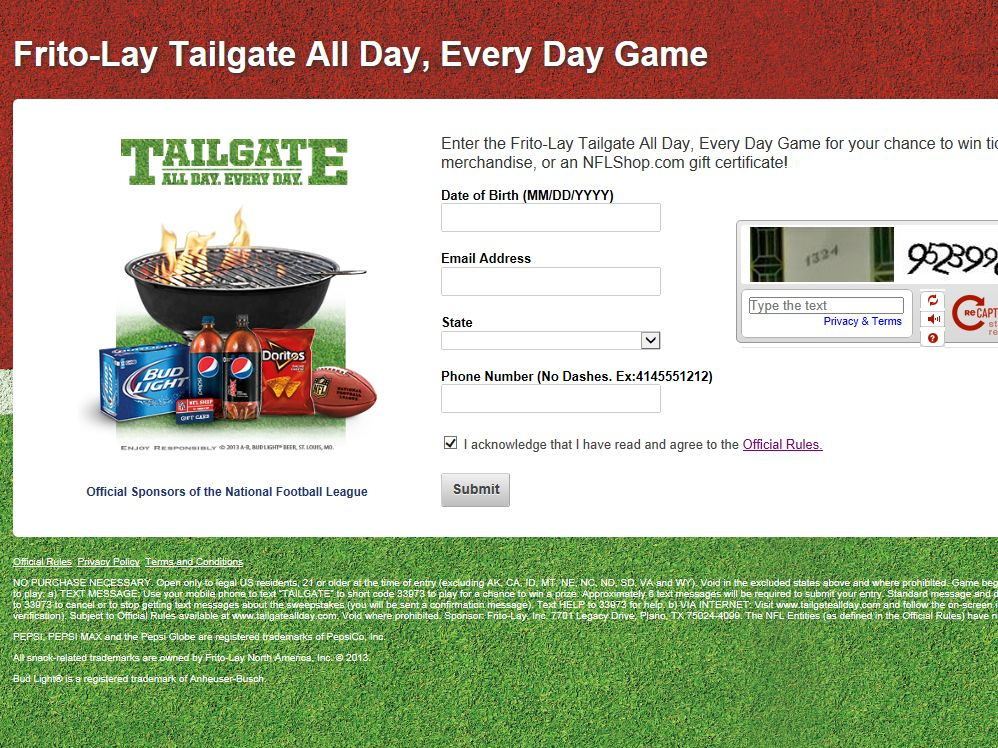 Frito-Lay Tailgate All Day Instant Win Game