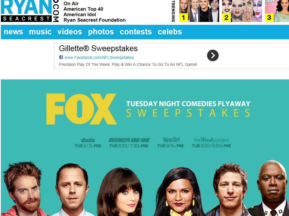Ryan Seacrest's FOX Tuesday Night Comedies Flyaway Sweepstakes