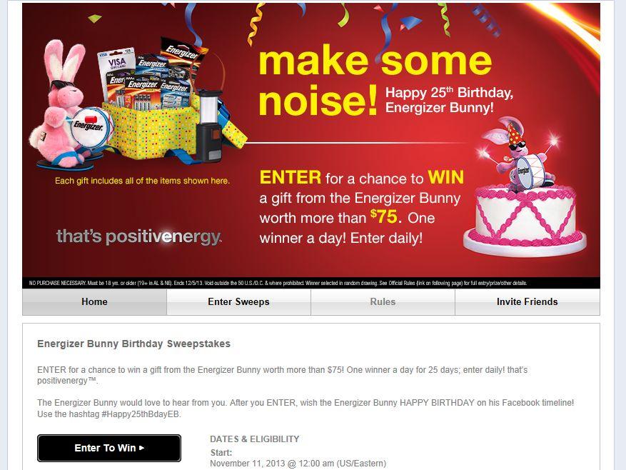 """Energizer Bunny """"Birthday"""" Sweepstakes"""