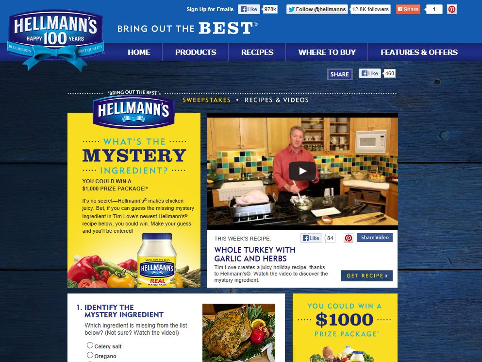 Hellmann's/Best Foods Mystery Ingredient Sweepstakes