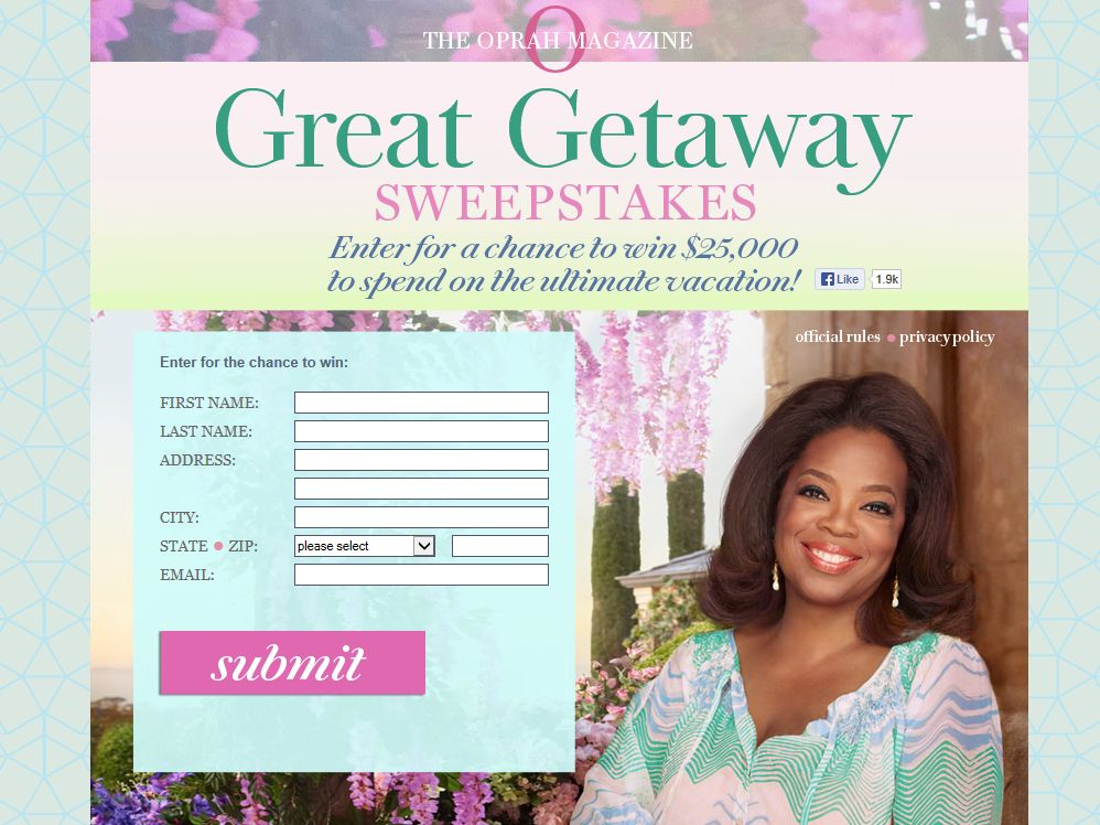Oprah Magazine $25,000 Life Saver Sweepstakes