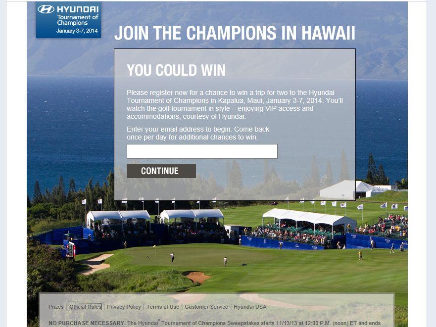Hyundai Tournament of Champions Sweepstakes