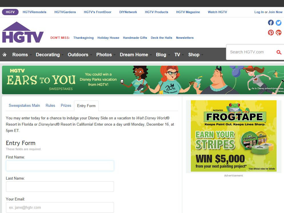HGTV's Ears to You Sweepstakes