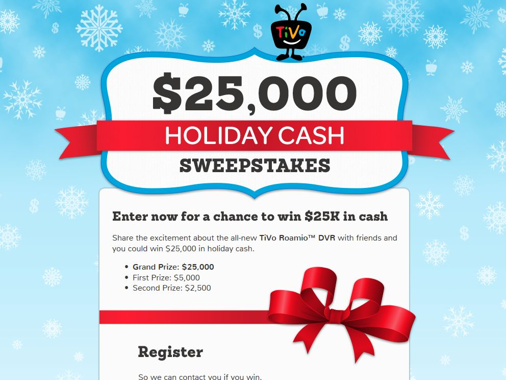 TiVo Holiday Cash Sweepstakes