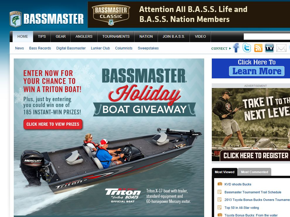 B.A.S.S. Holiday Boat Giveaway Sweepstakes