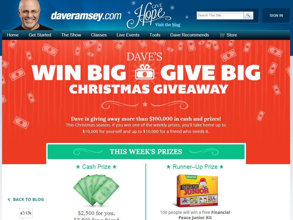 Dave ramsey christmas giveaway winners