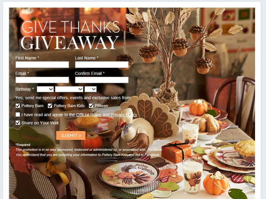 Pottery Barn Give Thanks Giveaway