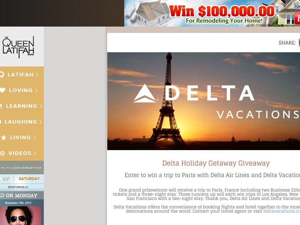 QUEEN LATIFAH SHOW Delta Holiday Getaway Giveaway Sweepstakes