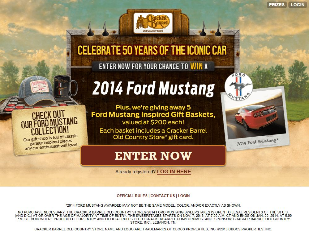 Cracker Barrel Old Country Store 2014 Ford Mustang Sweepstakes