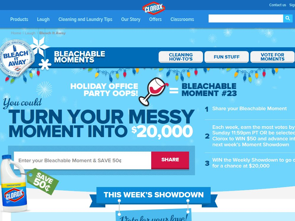 Clorox Bleachable Moments Sweepstakes