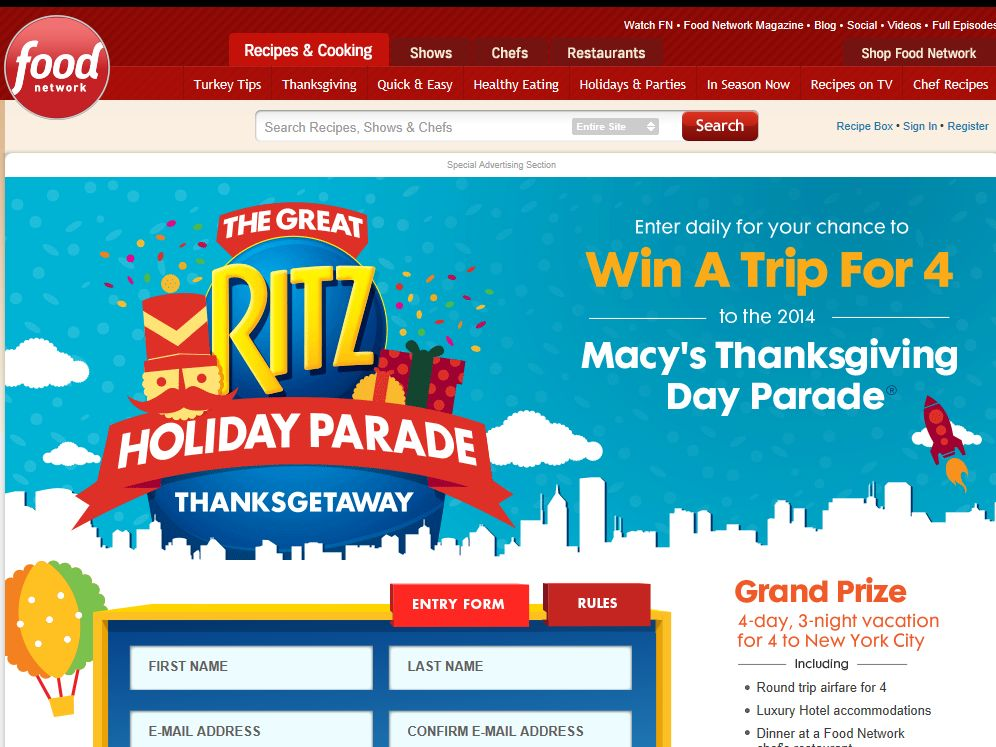 The Great Ritz Holiday Parade Thanksgetaway Sweepstakes