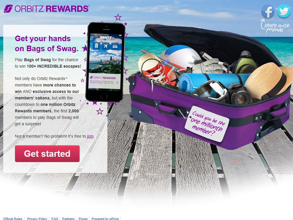 Orbitz Rewards Bags of Swag Promotion