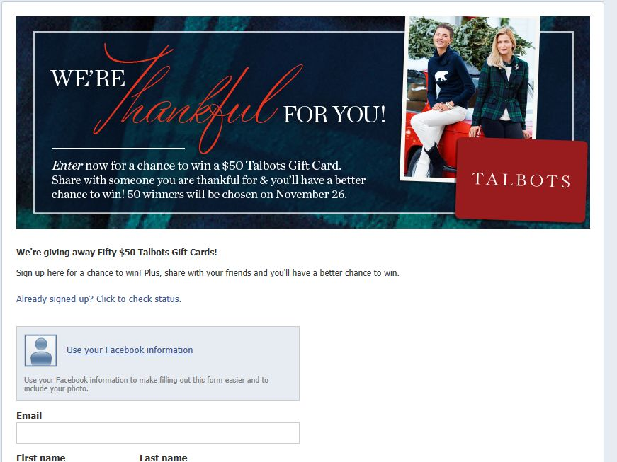 "Talbots ""We're Thankful for …You."" Sweepstakes"