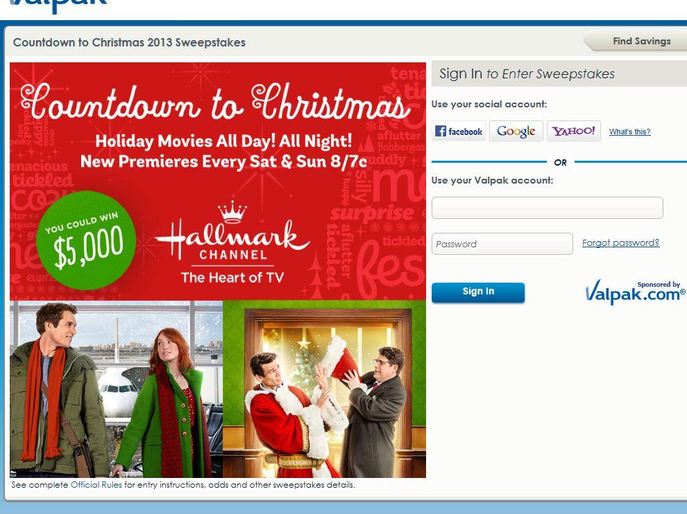 Valpak $5,000 Countdown to Christmas Sweepstakes