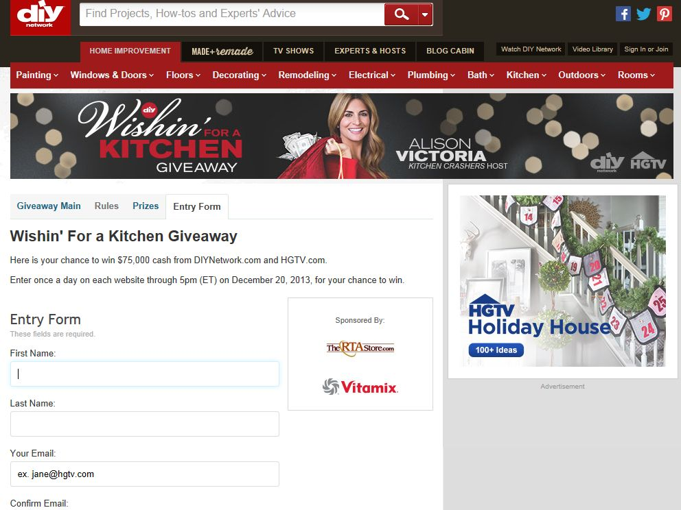DIY Network Wishin' For A Kitchen Giveaway