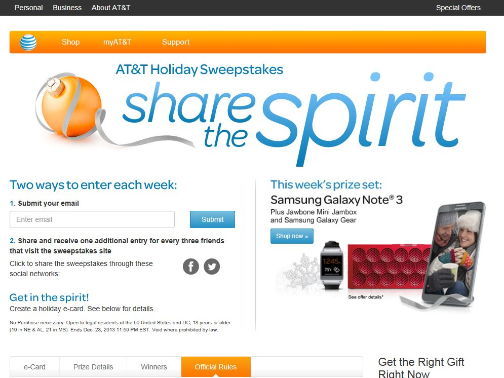 AT&T Holiday Sweepstakes